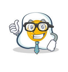 businessman fried egg character cartoon vector image
