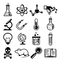 Chemistry and science black icon set vector image vector image