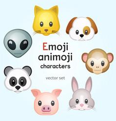 emoji or animoji animal characters vector image vector image