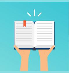 hands holding an open book flat design modern vector image vector image