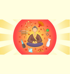 japan banner horizontal cartoon style vector image vector image