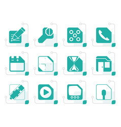 Stylized mobile phone computer and internet icons vector