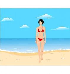 summer beach girl vector image