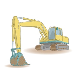 Excavator isolated on white background vector image