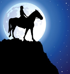 girl on the horse vector image vector image