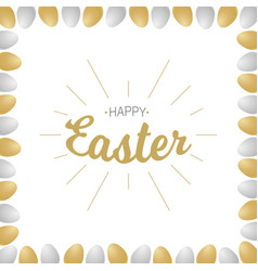 happy easter lettering with realistic eggs vector image vector image