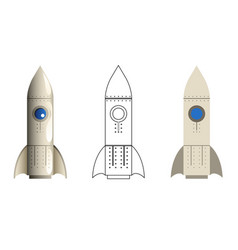 rocket symbol 3d line art flat icons set isolated vector image vector image