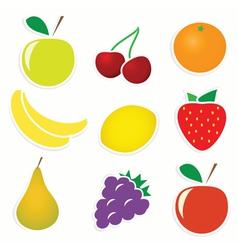 Set of 9 sticky fruitss vector image