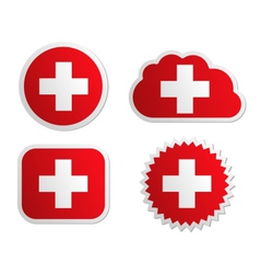 Switzerland flag labels vector image