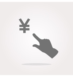 Yen currency symbol and people hand web button vector image vector image