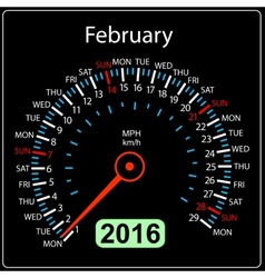 2016 year calendar speedometer car February vector image