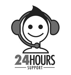 24 hours support face and headset icon vector image
