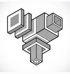 abstract isometric construction vector image
