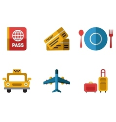 Airport Icons Flat Set vector image