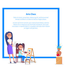 art class banner with place for text girl teacher vector image