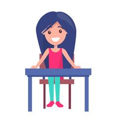 Back to school with schoolgirl vector