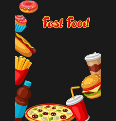 background with fast food meal tasty fastfood vector image