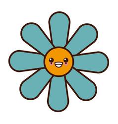 beautiful flower symbol cute kawaii cartoon vector image