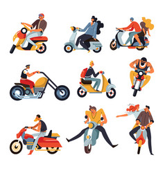 Bikers or motorbike racers on motorcycles and vector