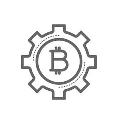 bitcoin in a gear line icon vector image