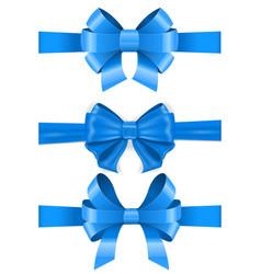 blue ribbon bows set vector image