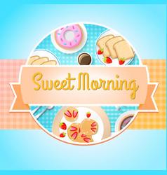 breakfast round template vector image