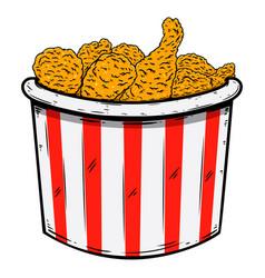 Bucket fried chicken design element for poster vector
