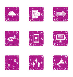 business call icons set grunge style vector image