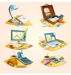 Business retro cartoon set vector image