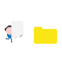 businessman character running and carrying blank vector image