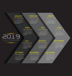 calendar 2019 yellow white text number on grey vector image