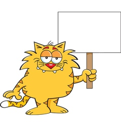 Cartoon Cat with Sign vector image