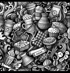 cartoon cute doodles hand drawn coffee shop vector image