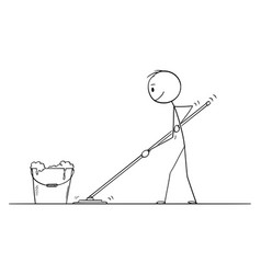 cartoon man mopping or cleaning floor vector image