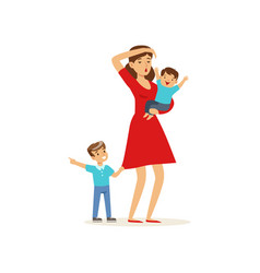 Cartoon of tired mother and her sons vector