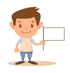 Child holding blank flag vector