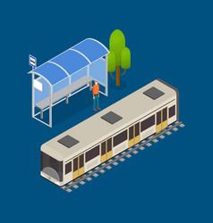 city public transport modern train 3d isometric vector image