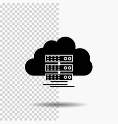 Cloud storage computing data flow glyph icon on vector