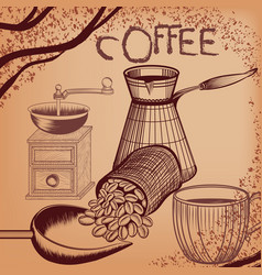 coffee poster with hand drawn coffee mill mug vector image
