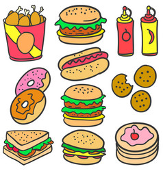 collection stock food various of doodles vector image