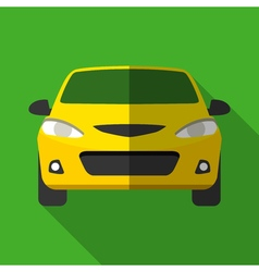 Colorful yellow taxi car icon in modern flat style vector