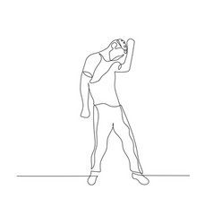 continuous one line dancing man with curly hair vector image