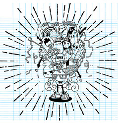 Crazy doodle monster family drawing style vector