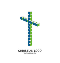Cross of jesus christ made up of cubes vector