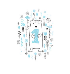 cute hand drawn white bear vector image