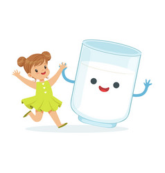 Cute little girl and funny milk glass with smiling vector