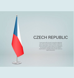 Czech republic hanging flag on stand template vector