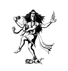 Dancing god shiva vector