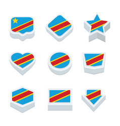 Democratic republic of the congo flags icons and vector
