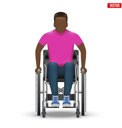 Disabled black man in wheelchair vector